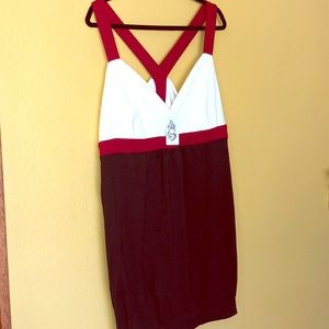 Torrid Dress Sleeveless Red Cream Black Size 22